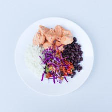 CHIPOTLE CHICKEN BURRITO BOWL/BASMATI RICE/BLACK BEANS/STIR FRY VEG